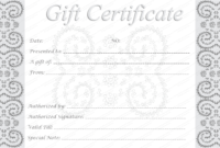 Editable And Printable Silver Swirls Gift Certificate Template regarding Graduation Gift Certificate Template Free
