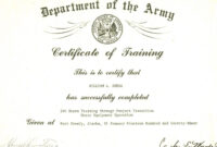 Editable Army Certificate Of Training Template with Army Certificate Of Completion Template