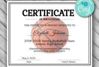 Editable Basketball Certificate Template – Printable with regard to Basketball Certificate Template