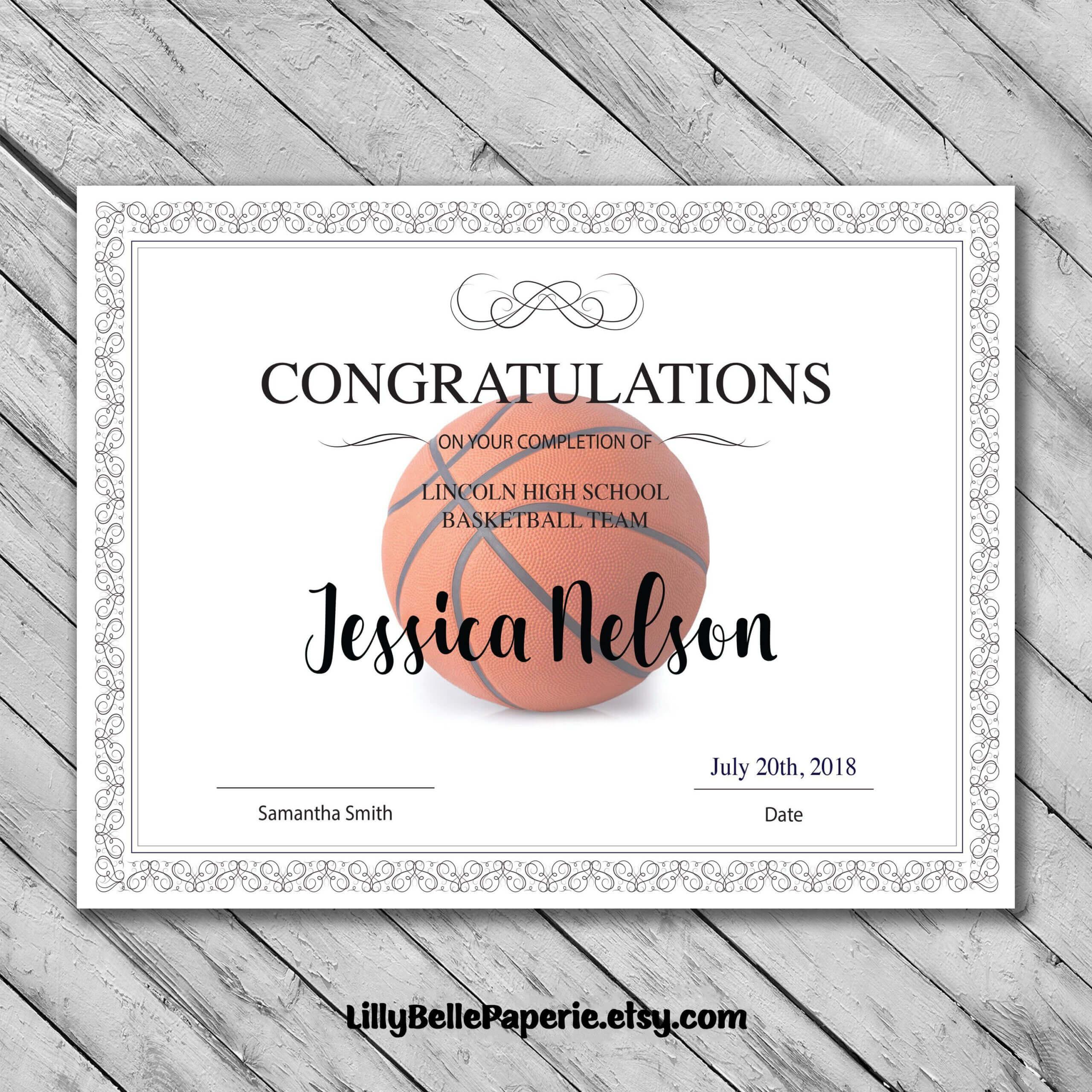 Editable Basketball Certificate Template - Printable With Regard To Basketball Certificate Template