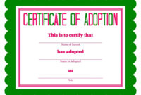 Editable Free Printable Stuffed Animal Adoption Certificate With Regard To Child Adoption Certificate Template