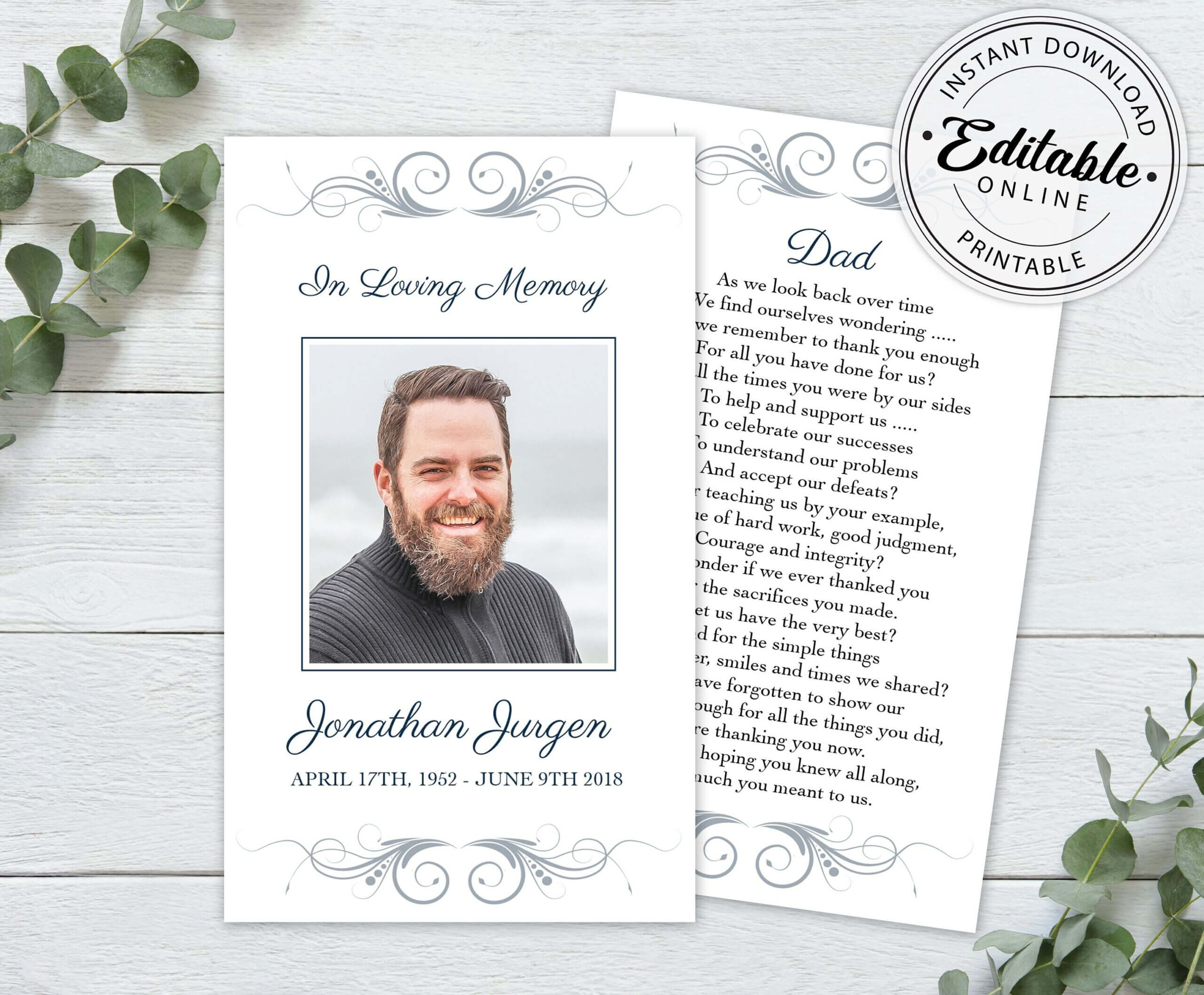 Editable Funeral Prayer Card Template, Printable Memorial Pertaining To Prayer Card Template For Word