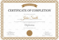 Editable High School Completion Certificate Design Template pertaining to Certificate Templates For School