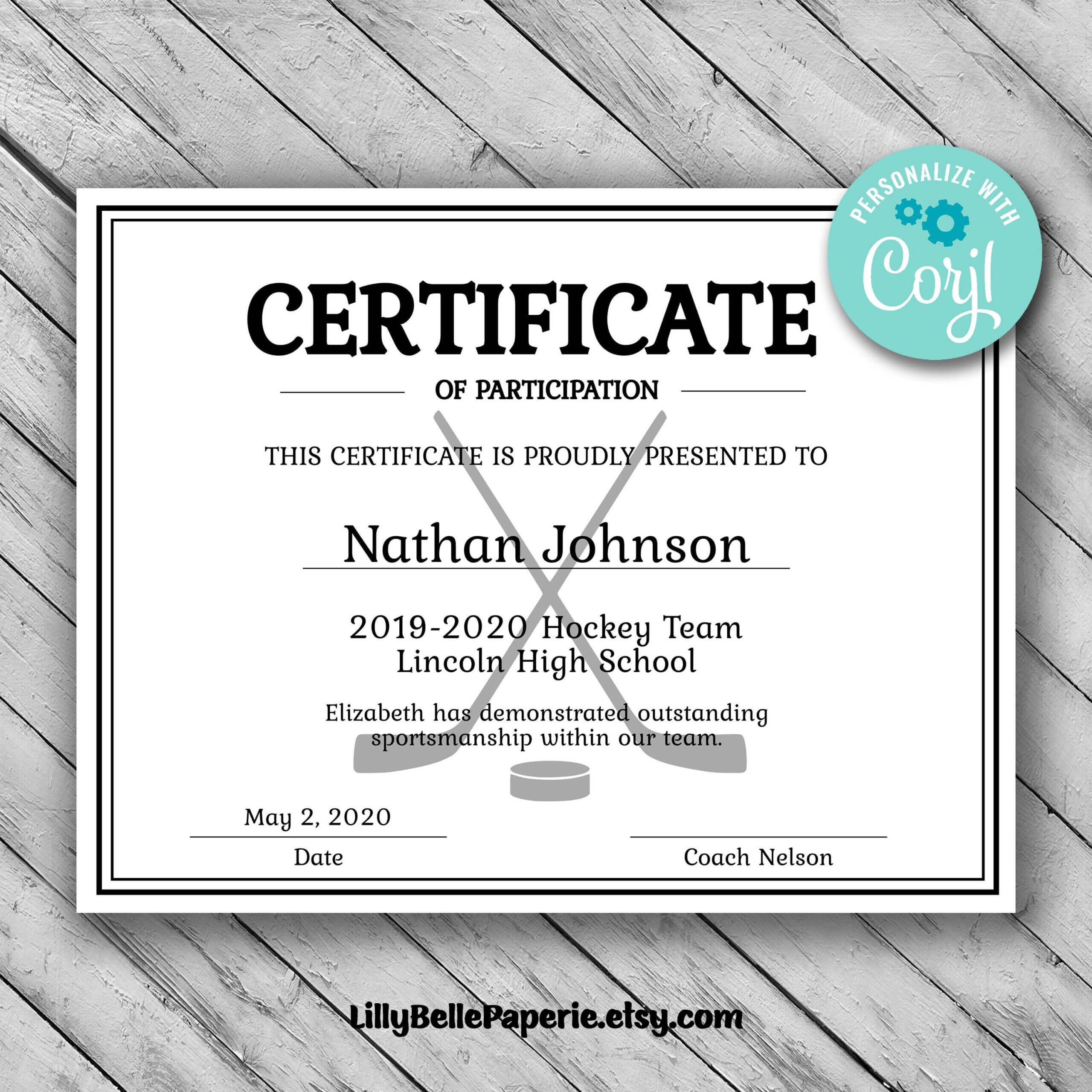 Editable Hockey Sports Team Certificate Template - Printable With Regard To Hockey Certificate Templates