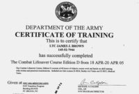 Editable Ideas Of Army Drivers Training Certificate Template for Army Certificate Of Completion Template