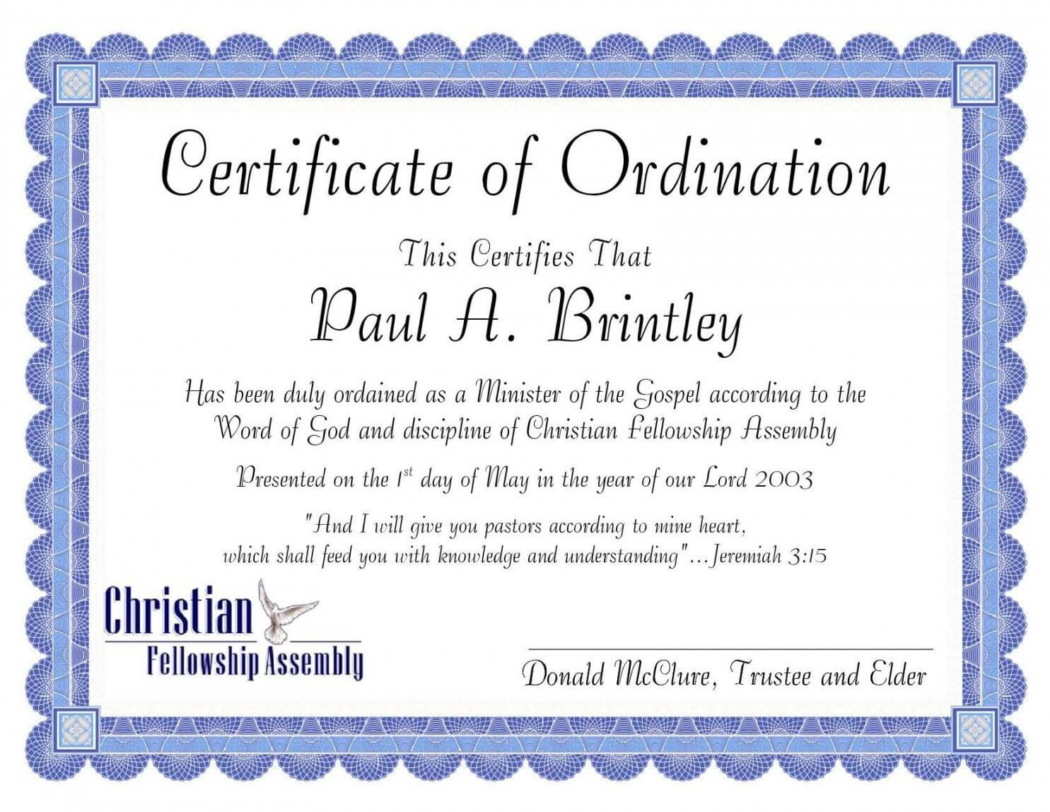 Editable Pastoral Ordination Certificatepatricia Clay Regarding Ordination Certificate Template