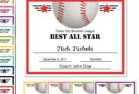Editable Pdf Sports Team Baseball Certificate Award Template within Hockey Certificate Templates