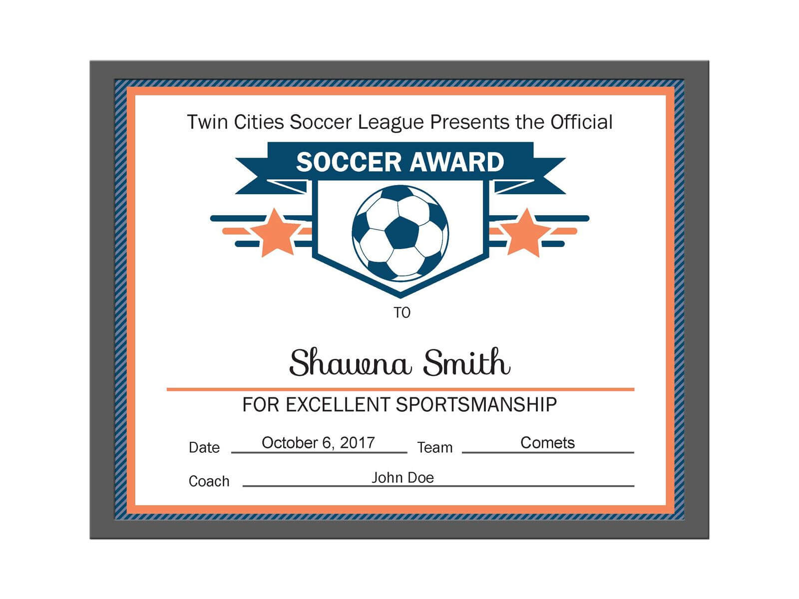 Editable Pdf Sports Team Soccer Certificate Award Template Regarding Soccer Certificate Template