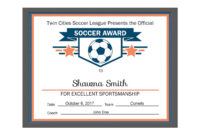 Editable Pdf Sports Team Soccer Certificate Award Template with regard to Certificate Of Participation Template Pdf