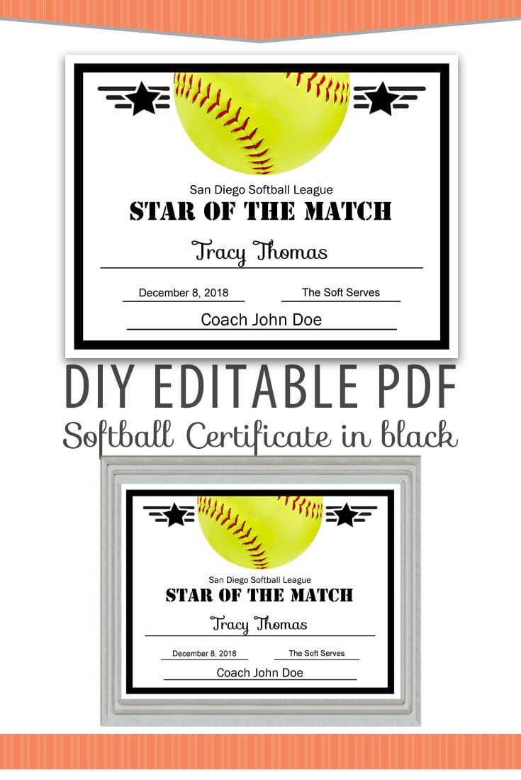 Editable Pdf Sports Team Softball Certificate Diy Award In Softball Certificate Templates