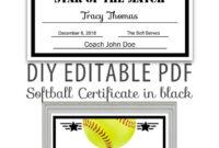 Editable Pdf Sports Team Softball Certificate Diy Award with regard to Softball Award Certificate Template