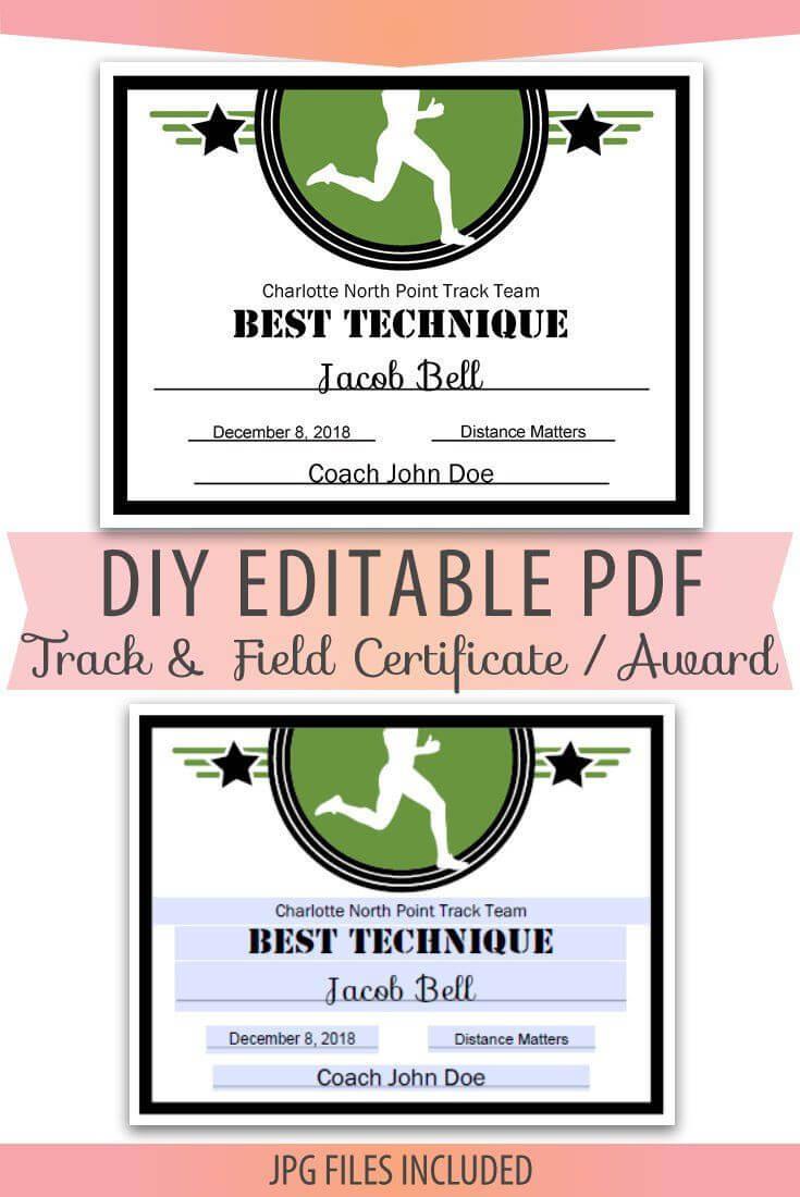 Editable Pdf Sports Team Track And Field Certificate Diy With Track And Field Certificate Templates Free