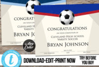 Editable Soccer Award Certificate, Custom Printable Template regarding Soccer Award Certificate Template