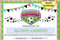 Editable Soccer Award Certificates, Instant Download, Team in Soccer Award Certificate Template