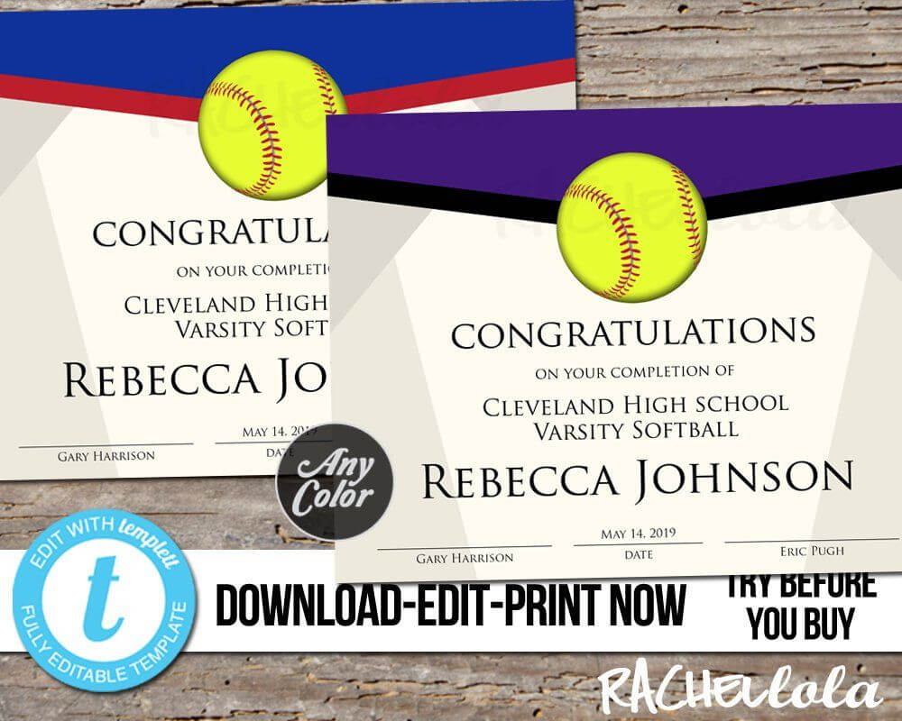 Editable Softball Award Certificate, Custom Printable In Softball Certificate Templates Free