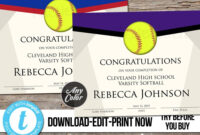 Editable Softball Award Certificate, Custom Printable inside Softball Certificate Templates