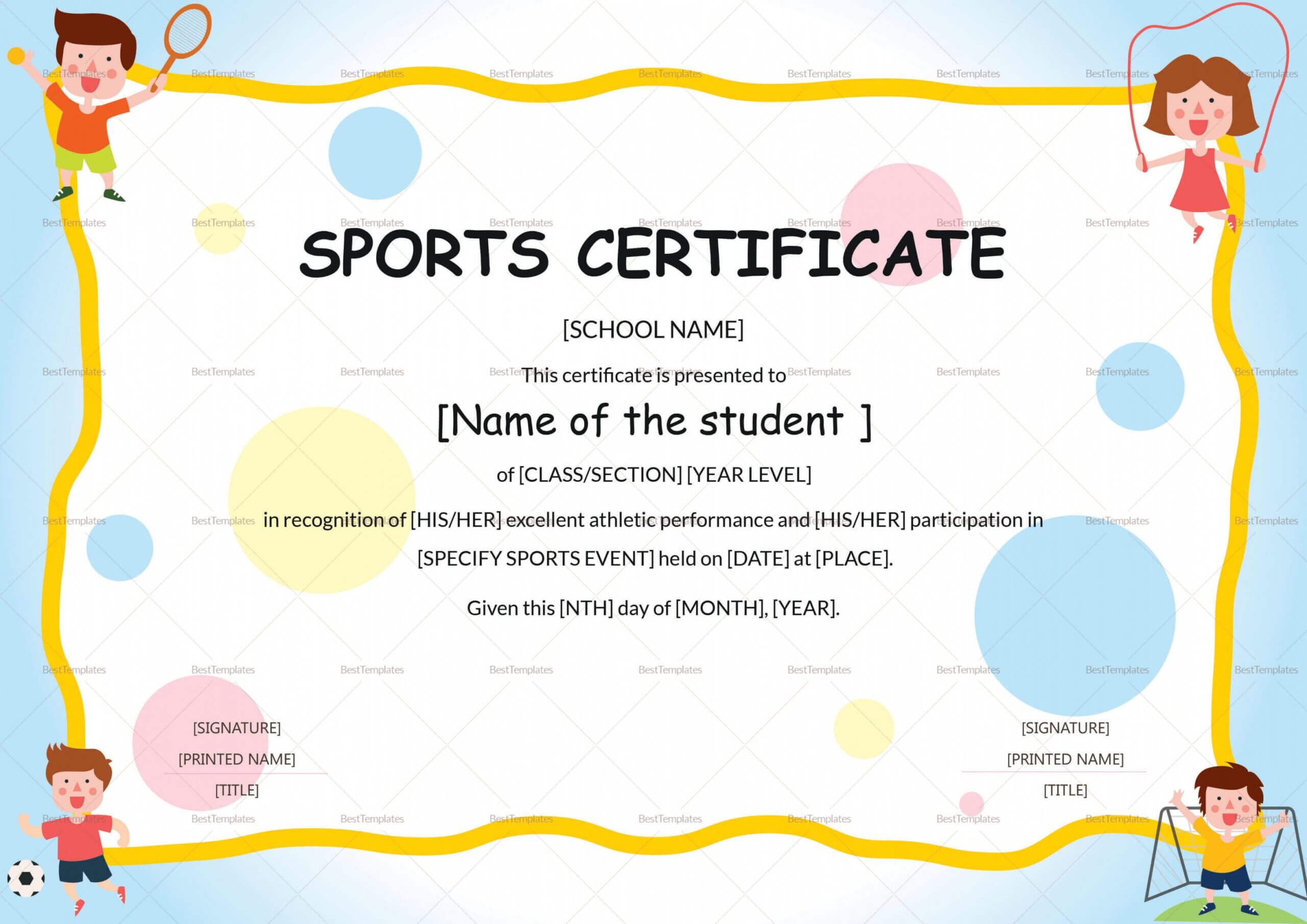 Editable Sports Day Certificate Template Within Athletic Certificate Template