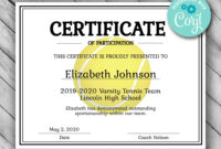 Editable Tennis Certificate Template – Printable Certificate for Tennis Gift Certificate Template