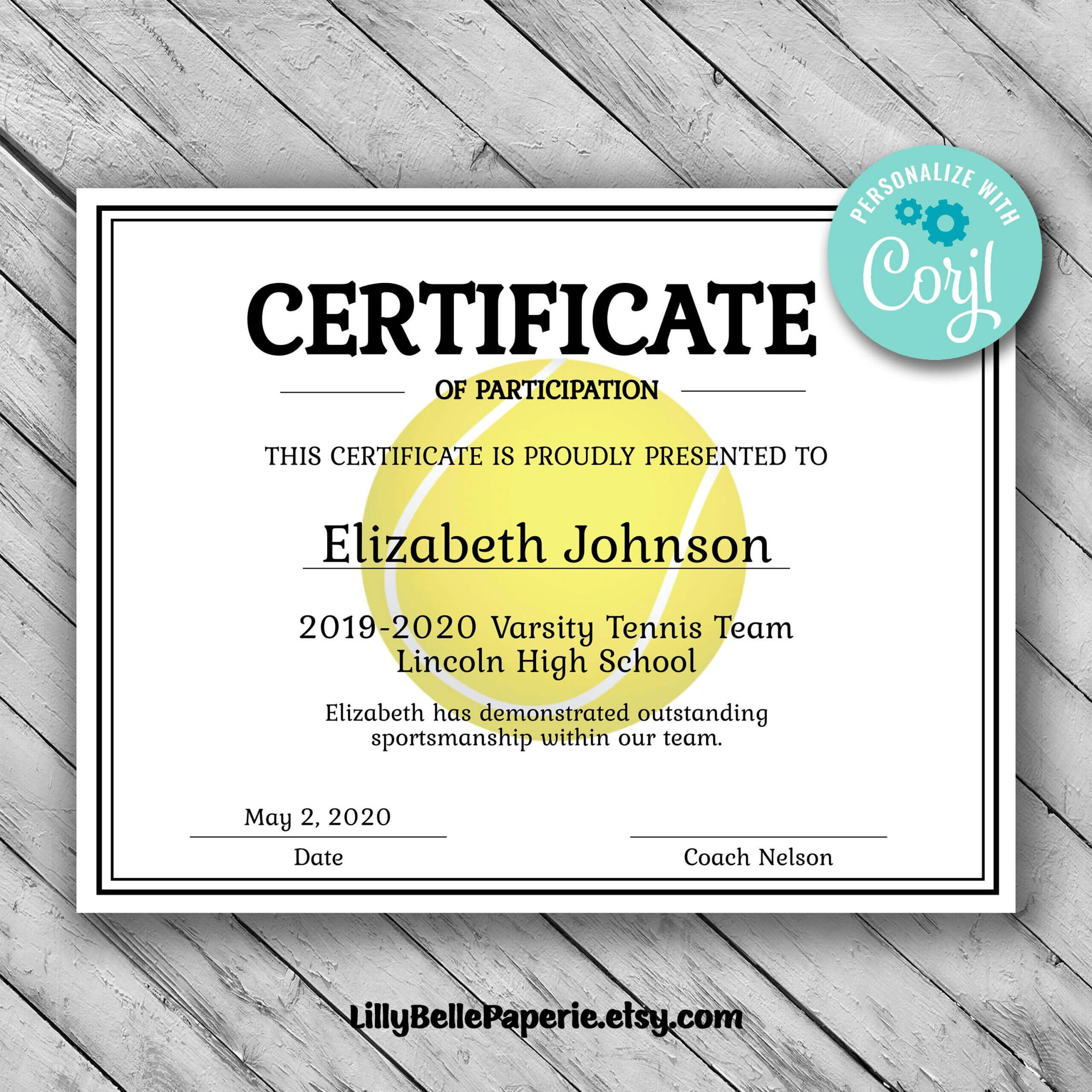 Editable Tennis Certificate Template - Printable Certificate For Tennis Gift Certificate Template