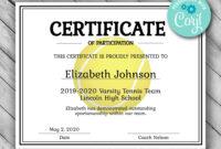 Editable Tennis Certificate Template – Printable Certificate inside Tennis Certificate Template Free