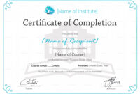 Editable Training Completion Certificate Template regarding Forklift Certification Template