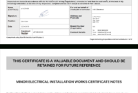 Electrical Certificate – Example Minor Works Certificate in Electrical Installation Test Certificate Template