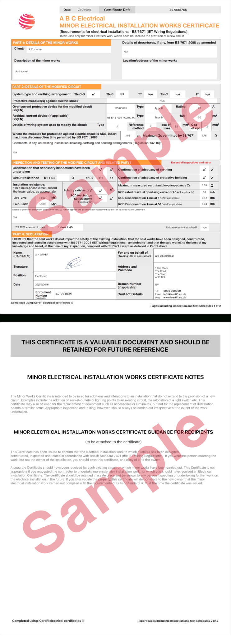 Electrical Certificate - Example Minor Works Certificate Inside Electrical Minor Works Certificate Template
