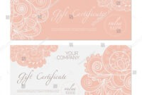 Elegant Gift Certificate Template Abstract Ornamental Stock regarding Elegant Gift Certificate Template