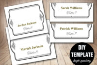 Elegant Wedding Placecard Template Foldover, Diy Black Gold with regard to Fold Over Place Card Template