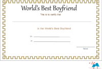 Elegant World's Best Boyfriend Certificate | Best Boyfriend within Love Certificate Templates