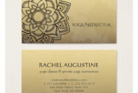 Elegant Yoga Instructor Black Gold Floral Mandala Business throughout Business Cards For Teachers Templates Free
