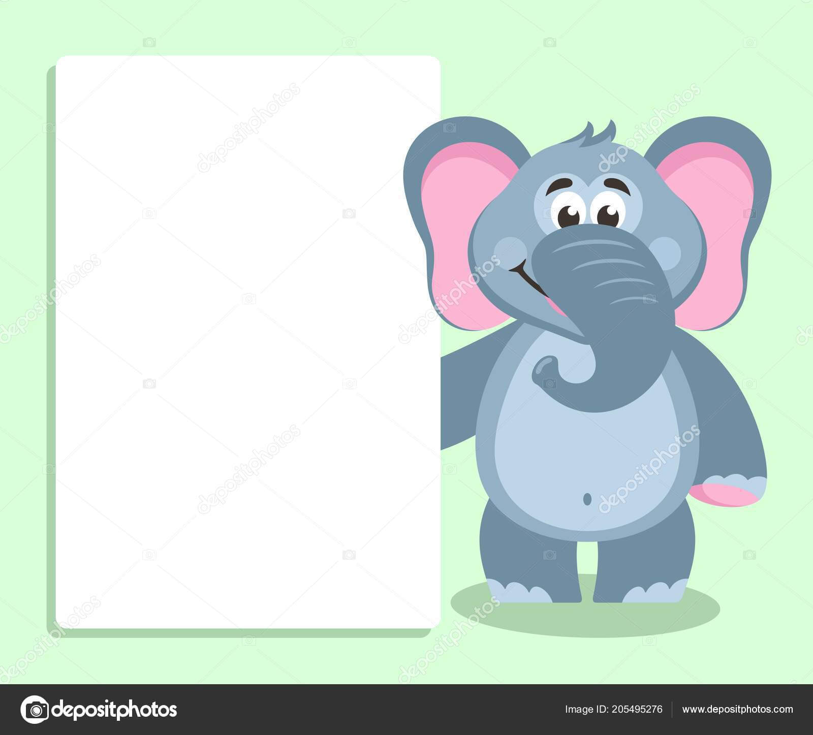 Elephant White Board Template Your Text Cartoon Character Within Blank Elephant Template