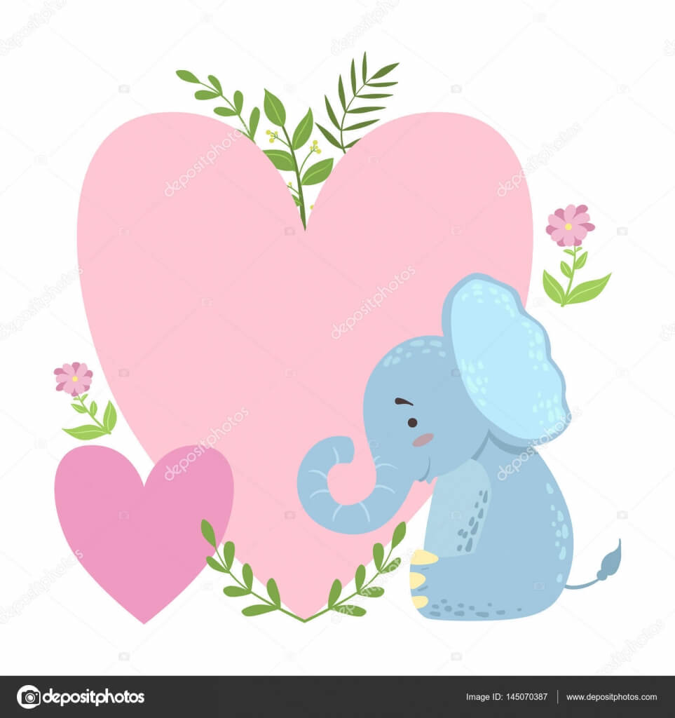 Elephant With Two Big Hearts And Plants Vector Sticker Throughout Blank Elephant Template