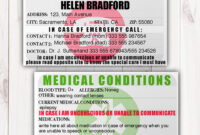 Emergency Identification Card Template, Medical Condition throughout Medication Card Template