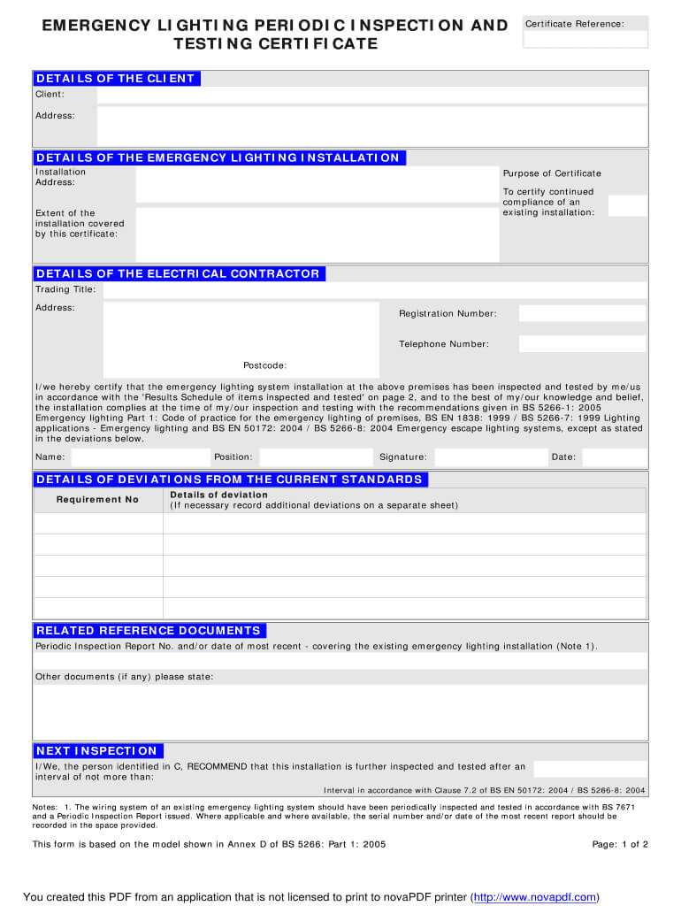 Emergency Lighting Certificate - Fill Online, Printable Pertaining To Electrical Installation Test Certificate Template