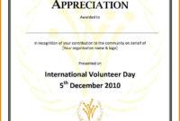 Employee Appreciation Certificate Template Free Resume intended for Volunteer Award Certificate Template