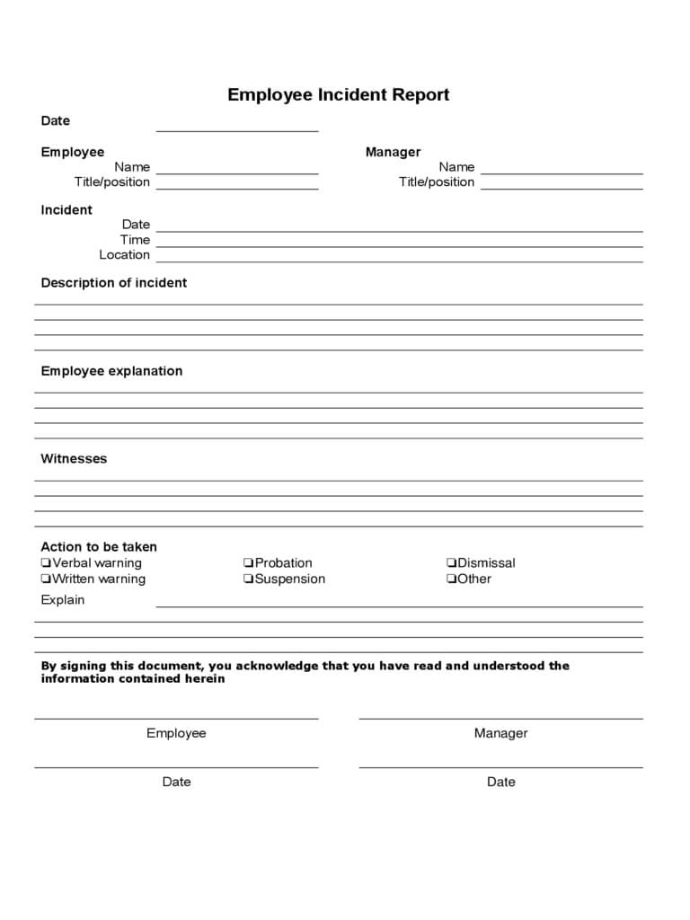 Employee Incident Report – 4 Free Templates In Pdf, Word In Employee Incident Report Templates