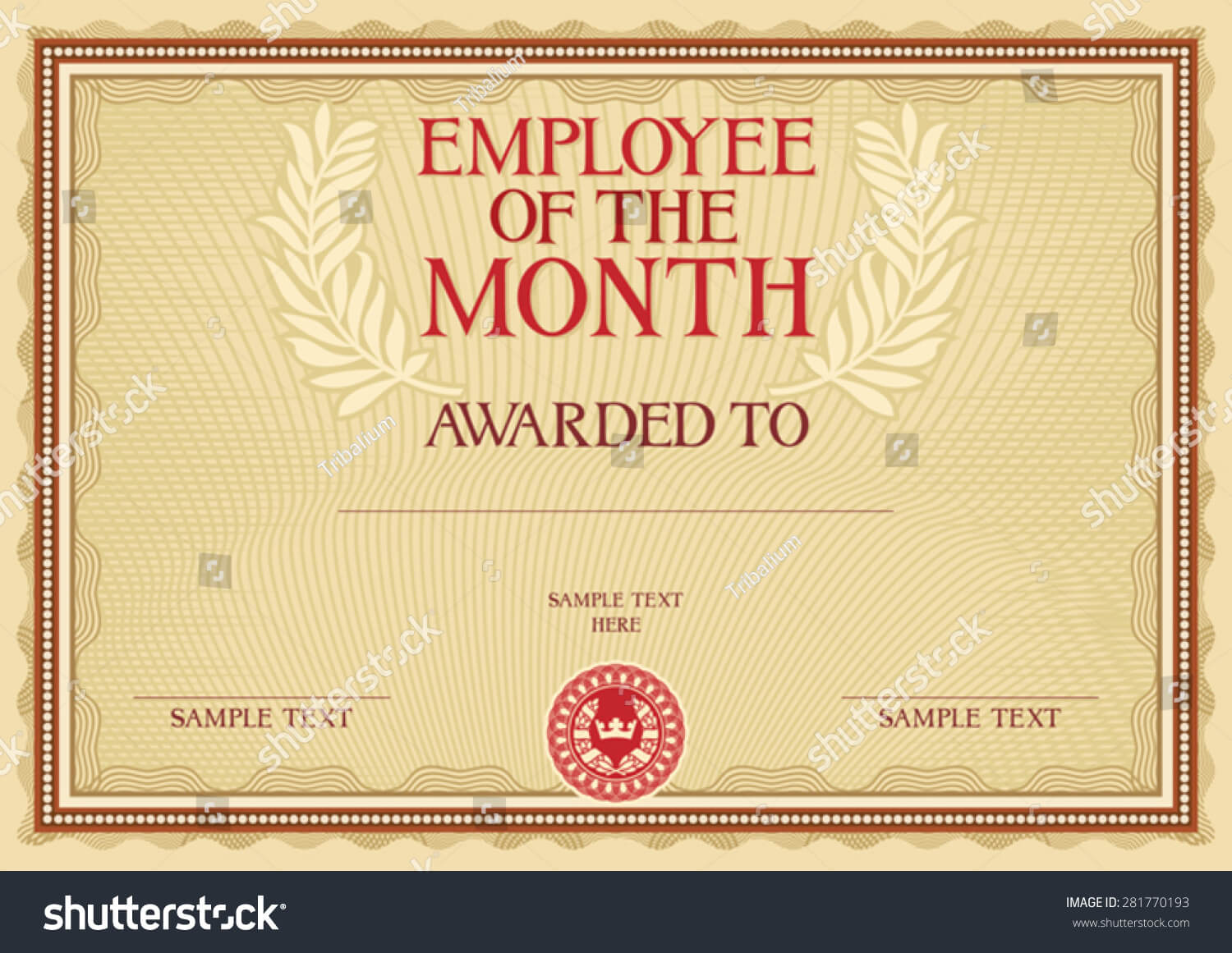 Employee Month Certificate Template Stock Vector (Royalty Inside Employee Of The Month Certificate Template With Picture
