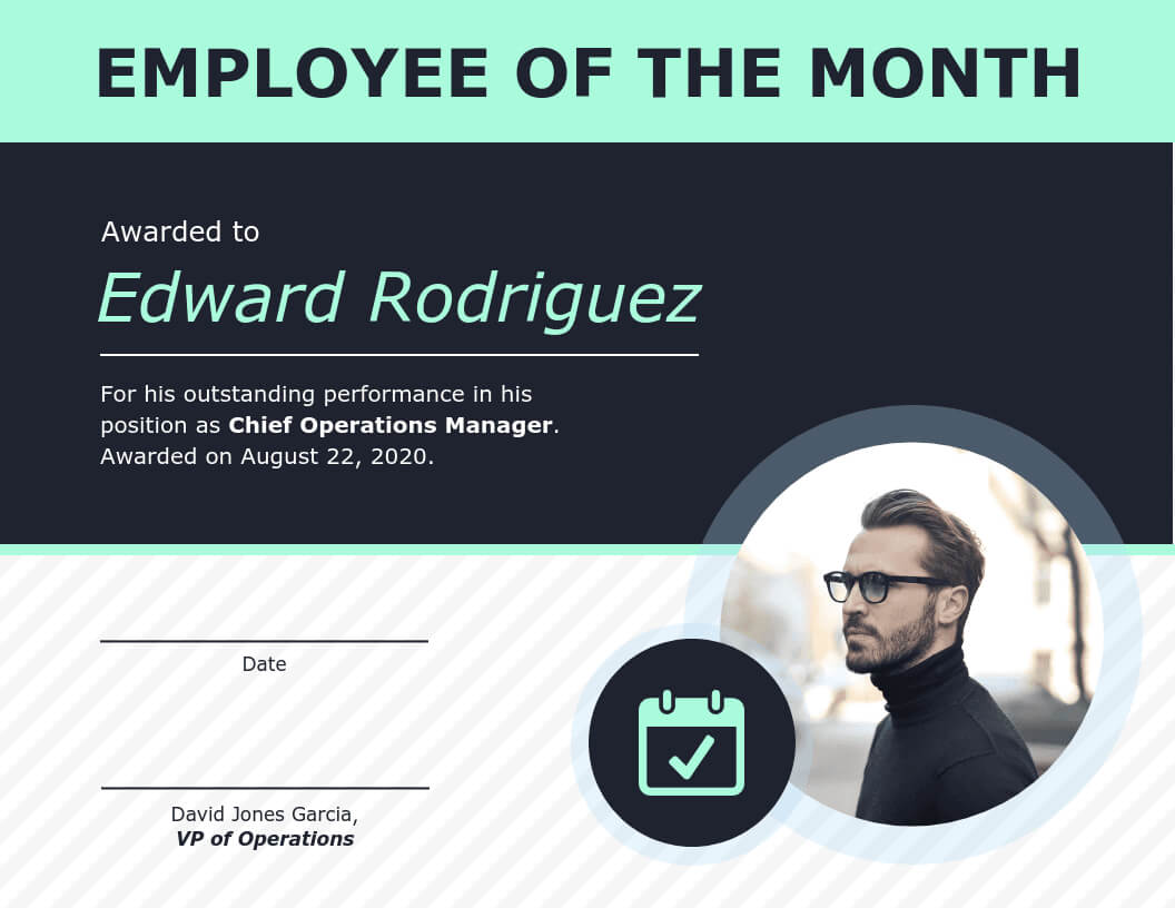 Employee Of The Month Certificate Of Recognition Template Within Manager Of The Month Certificate Template