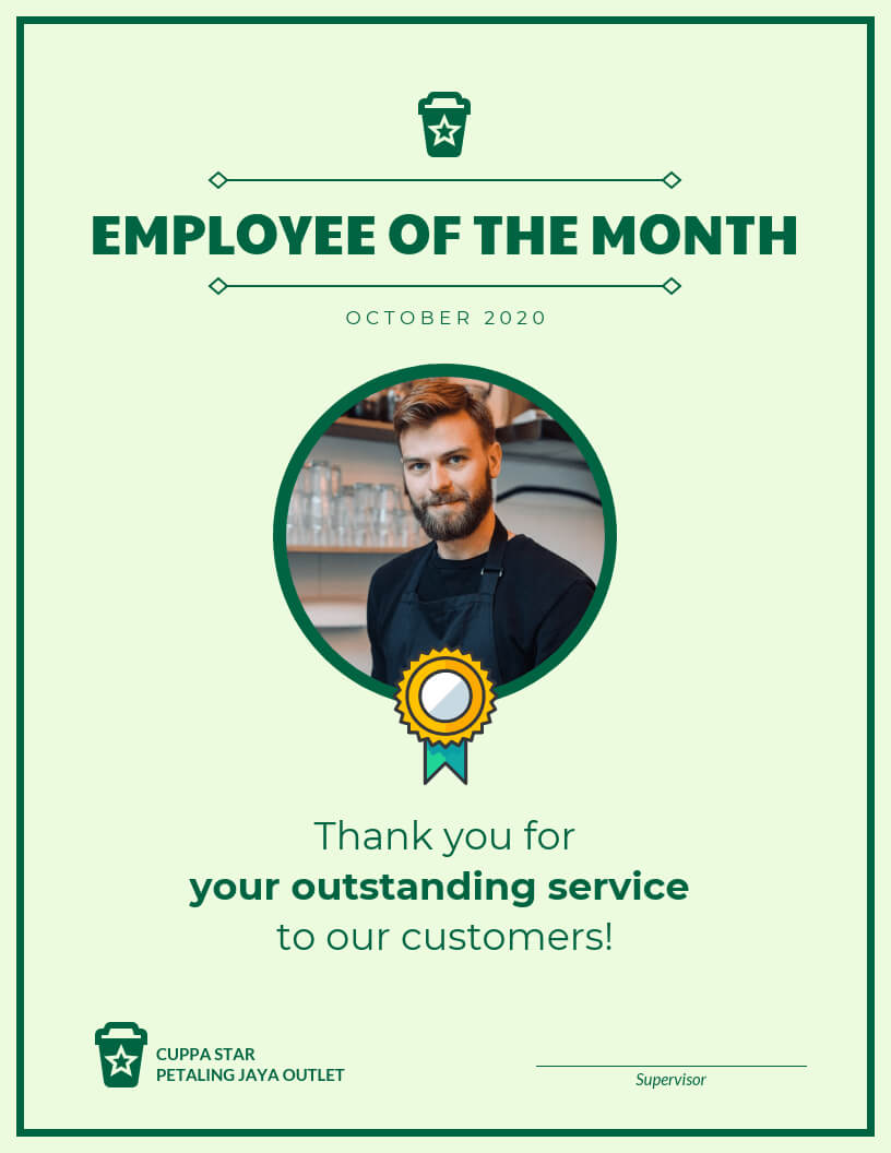 Employee Of The Month Certificate Template Intended For Employee Of The Month Certificate Templates