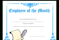 Employee Of The Month Certificate | Templates At For Employee Of The Month Certificate Templates