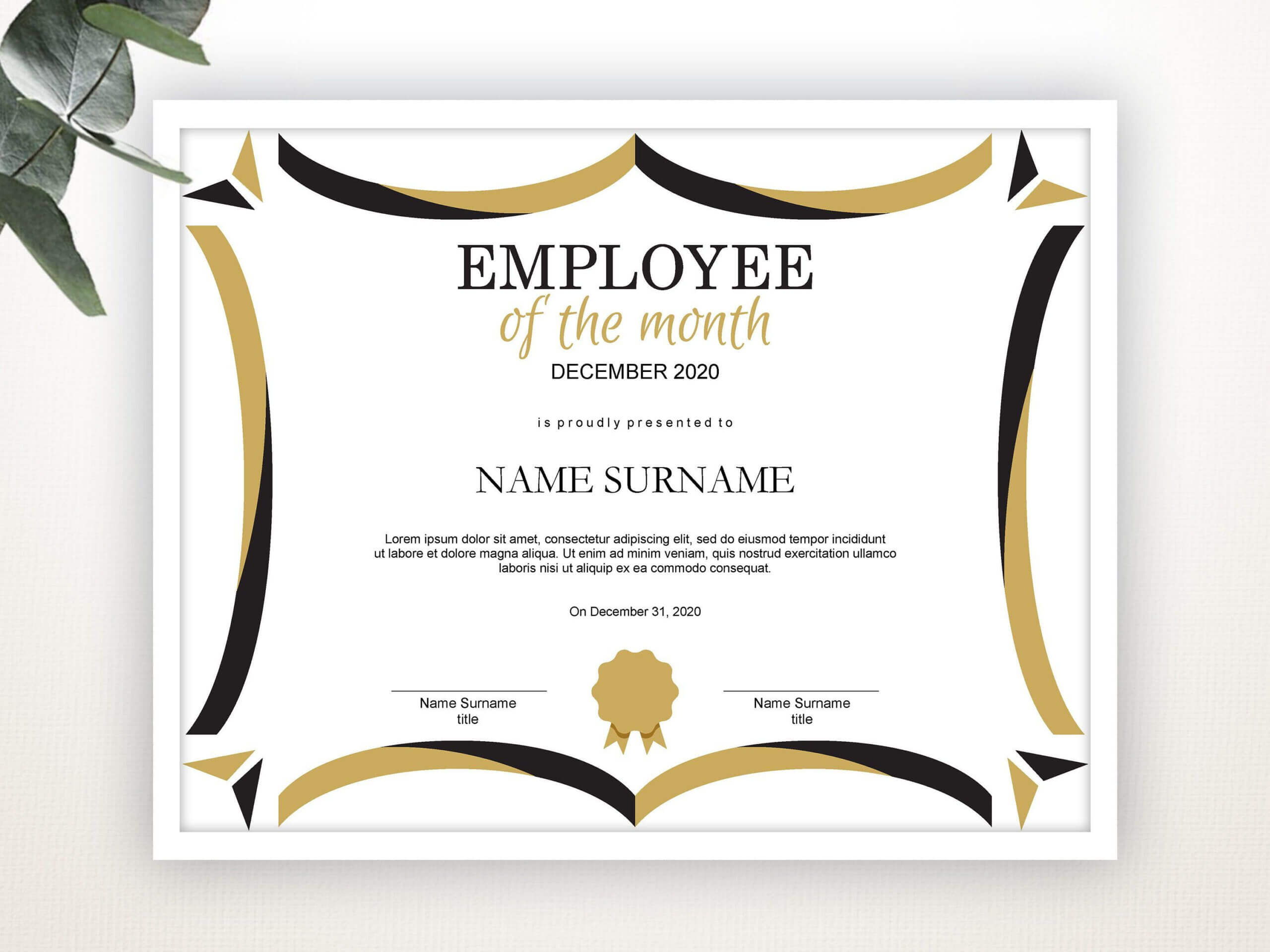 Employee Of The Month Editable Template Editable Award For Employee Of The Month Certificate Templates
