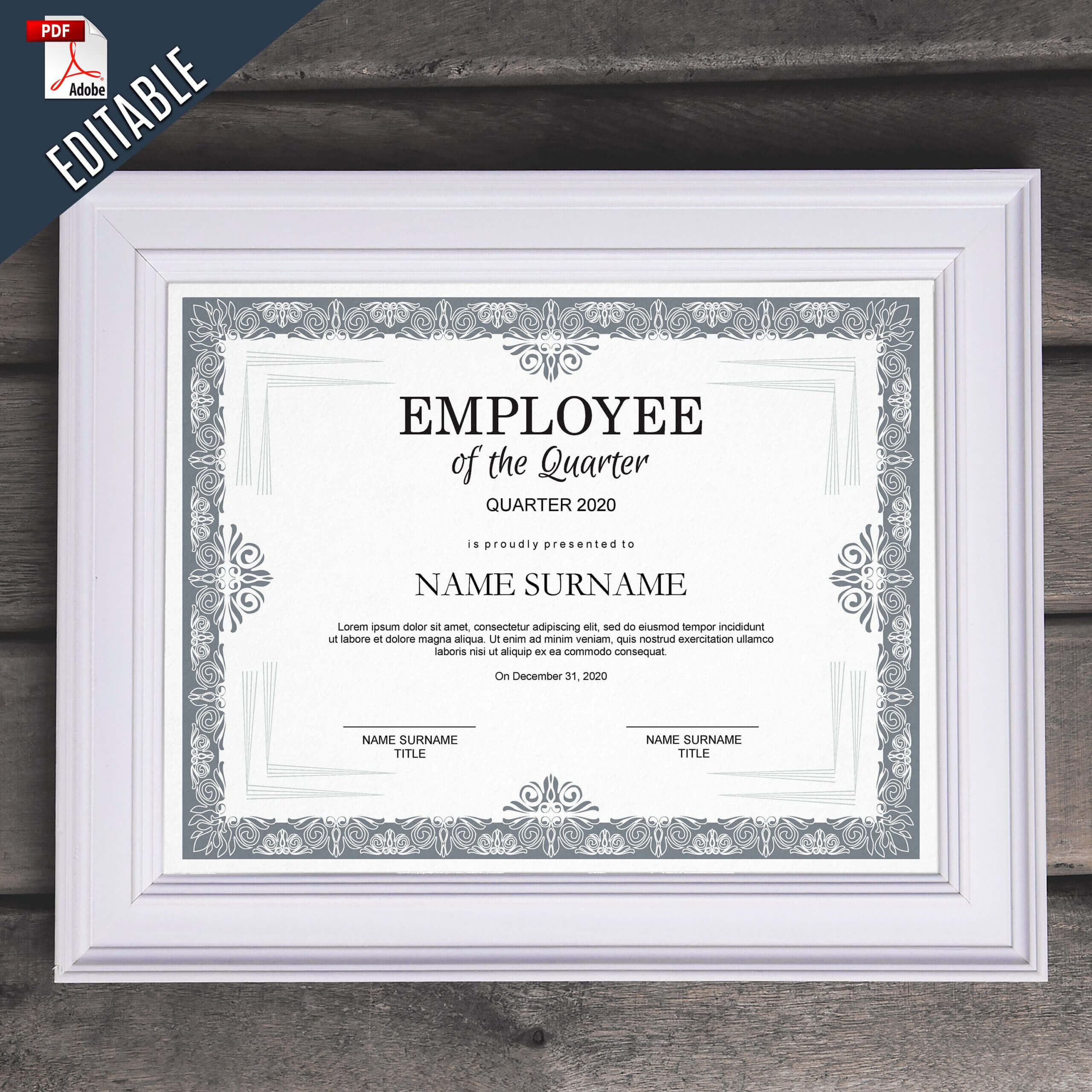 Employee Of The Quarter Editable Template Editable Award For Commemorative Certificate Template