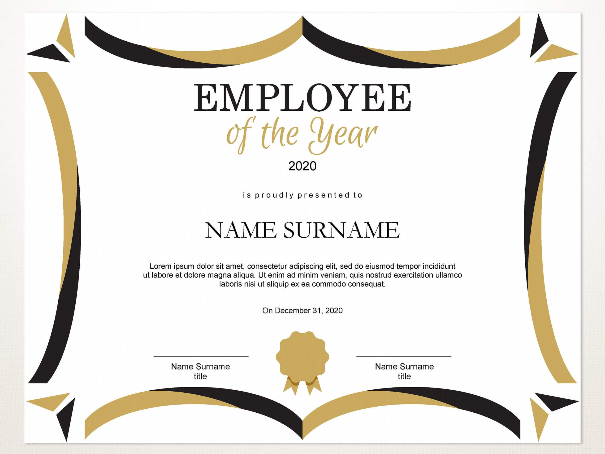 Employee Of The Year Editable Template Editable Award With Employee Of The Year Certificate Template Free