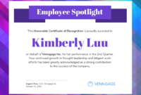 Employee Spotlight Certificate Of Recognition Template inside Template For Recognition Certificate