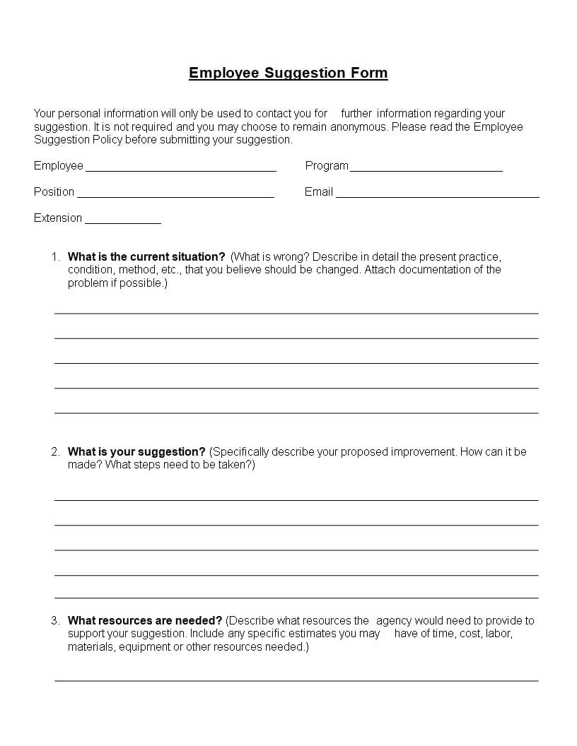 Employee Suggestion Form Word Format | Templates At Intended For Word Employee Suggestion Form Template