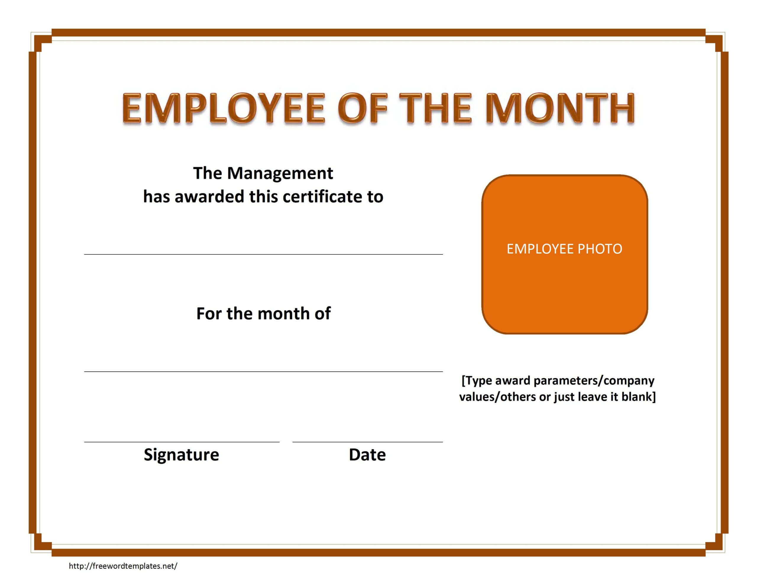 Employee The Month Certificate Template Free Microsoft Word Inside Employee Of The Month Certificate Templates