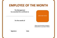 Employee The Month Certificate Template Free Microsoft Word Intended For Employee Of The Month Certificate Template With Picture
