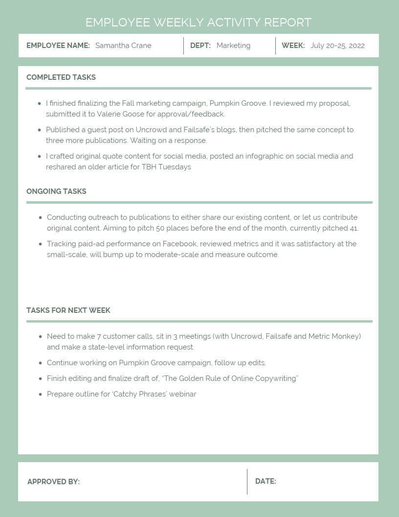 Employee Weekly Activity Report Throughout Weekly Activity Report Template