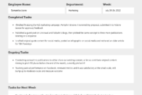 Employee Weekly Status Report in Staff Progress Report Template
